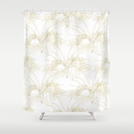 Elegant tropical leaves golden strokes design Shower Curtain