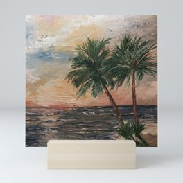 Beach Side  Oil on Canvas Mini Art Print