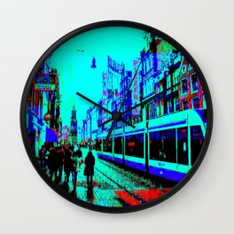 Amsterdam Evening in the Rain Pixelart Wall Clock