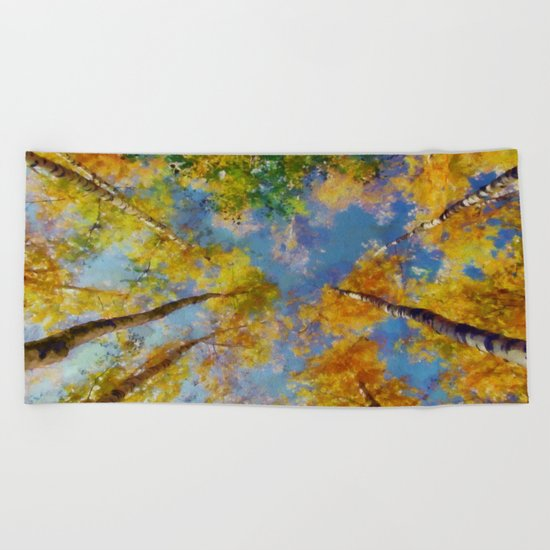 Fall trees in the sky Beach Towel