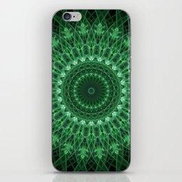 Detailed mandala in light and dark green tones iPhone Skin