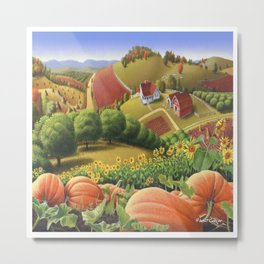 Fall Decor, Pumpkin Patch Patch farm landscape, Pumpkins Americana Metal Print