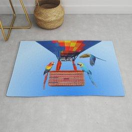 Hot Air Balloon Macaw Parrots Birds Rug