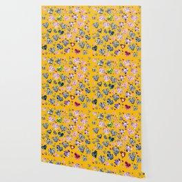 Heart Diamonds are Forever Love Yellow Wallpaper