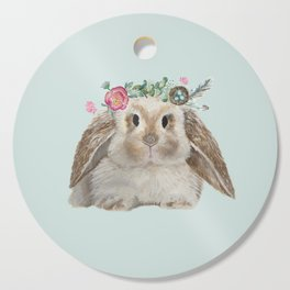Spring Bunny with Floral Crown Cutting Board