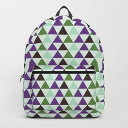 Geometrical purple green abstract triangles pattern Backpack