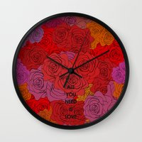 all you need is love Wall Clocks featuring All you need is love by NENE W