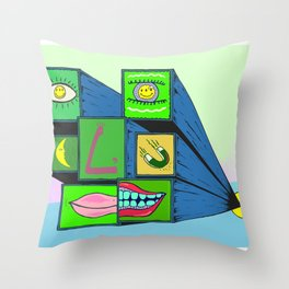 MANY FACE Throw Pillow