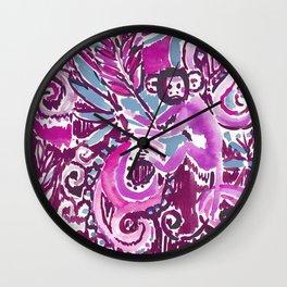 MONKEY TRICKSTER - PLUM Wall Clock