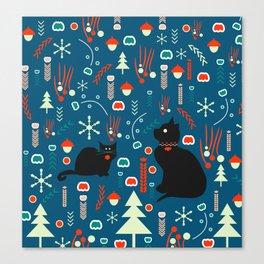 Black kitties in winter Canvas Print