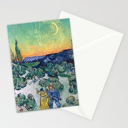 Couple Walking among Olive Trees, Vincent Van Gogh Stationery Cards