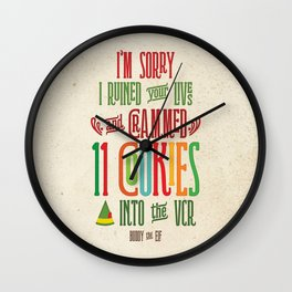 Buddy the Elf! I'm Sorry I Crammed 11 Cookies into the VCR Wall Clock