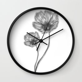 Flores, flowers, black and white Wall Clock