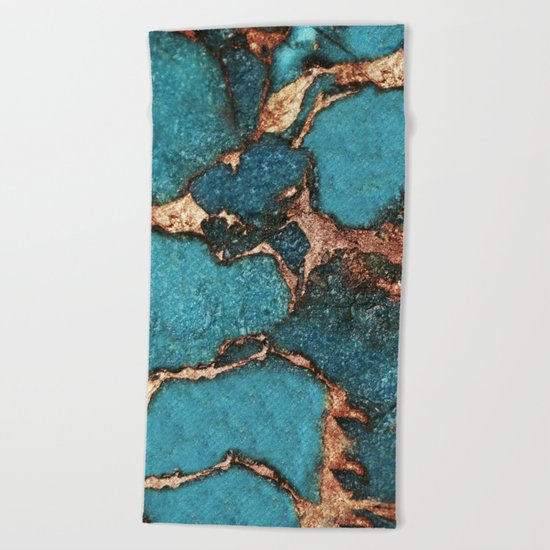 AQUA & GOLD GEMSTONE Beach Towel
