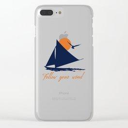 Follow your winds (sail boat) Clear iPhone Case