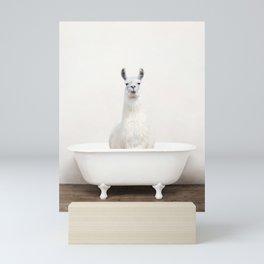 llama in a Vintage Bathtub (c) Mini Art Print
