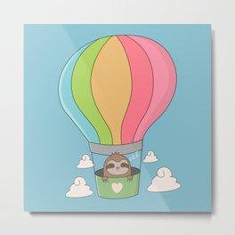 Kawaii Cute Sloth Hot Air Balloon Metal Print
