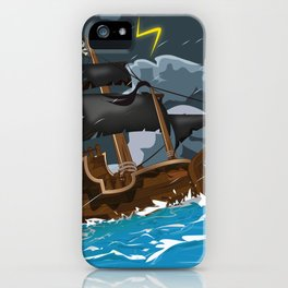 Pirate Ship in Stormy Ocean iPhone Case