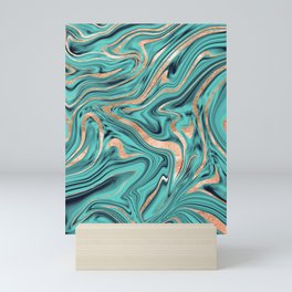 Soft Turquoise Rose Gold Marble #1 #decor #art #society6 Mini Art Print