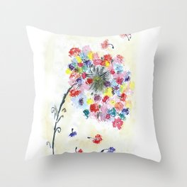 Dandelion watercolor illustration, rainbow colors, summer, free, painting Throw Pillow