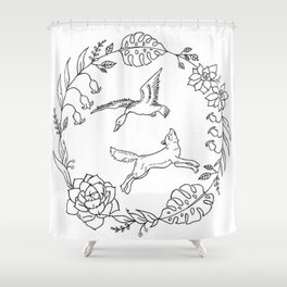 Fox and Loon Playing in Floral Wreath Design — Floral Wreath with Animals Illustration Shower Curtain