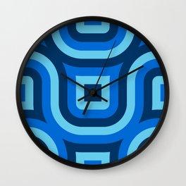 Blue Truchet Pattern Wall Clock