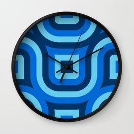 Blue Truchet Pattern Wall Clock