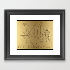 We Come With Piece (Pioneer probe plaque) by Dan Levin Framed Art Print