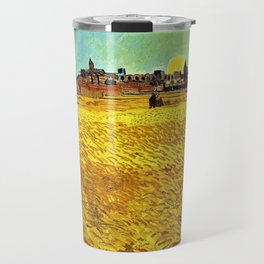 Sunset at Wheat Field by Vincent van Gogh Travel Mug