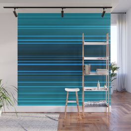Abstract blue and green horizontal lines. Wall Mural