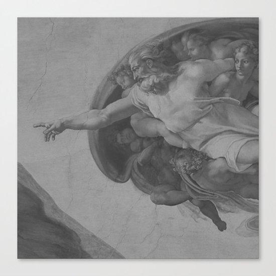 Black White Sistine Canvas Print
