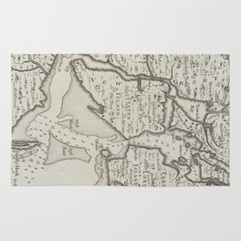 Vintage Staten Island & NYC Harbor Map (1733) Rug