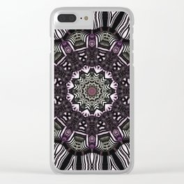 Mandala in black and white with hint of purple and green Clear iPhone Case