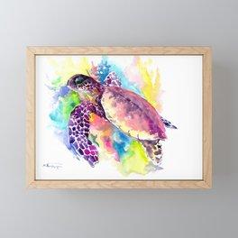Sea Turtle in Coral Reef, tropical colors sea world purple yellow blue turtle art, turtle illustrati Framed Mini Art Print