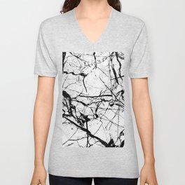Dusty White Marble - Textured Black And White Unisex V-Neck