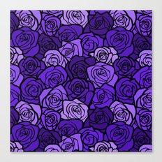 Romantic Purple roses with black outline Canvas Print