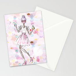 Cupcake Party Girl Stationery Cards