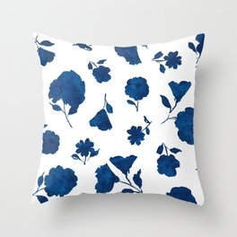 Large Indigo Shadow Bloom Throw Pillow