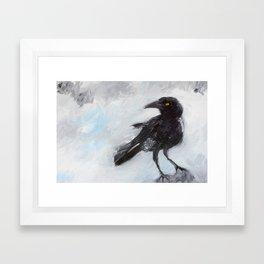 Overcast Crow Framed Art Print