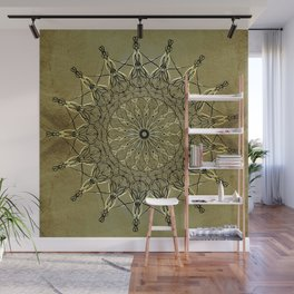 Black & Golden-Yellow Metallic Mandala on Faux Gold Foil Background (part of set) Wall Mural