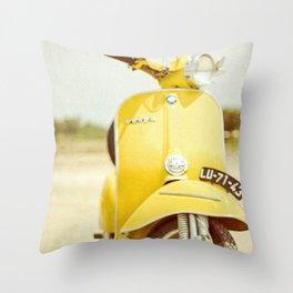 Yellow Scooter #vespaprint #italyphoto #travel #modstyle #yellowmustard Throw Pillow