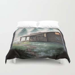 Cabin in the Pines Duvet Cover