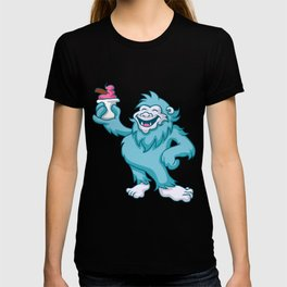 cartoon yeti eating ice cream T-shirt