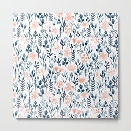Watercolor Pastel Pink and Blue Floral Metal Print