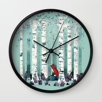 autumn Wall Clocks featuring The Birches by littleclyde