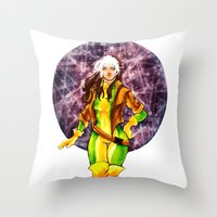 rogue Throw Pillows featuring Rogue by Doodleholic