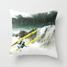 EYE OF THE STORM Biplane, Storm, Mountains Throw Pillow