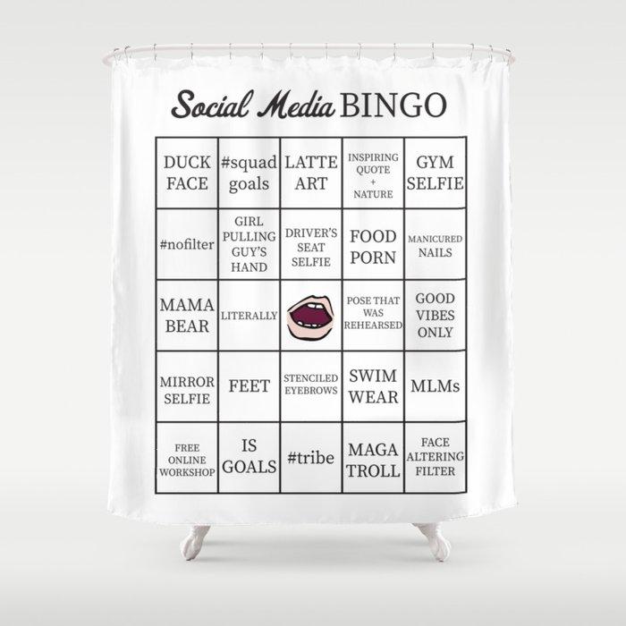 Social Shower Courtain.Social Media Buzzword Bingo Card Shower Curtain By Itsrturn
