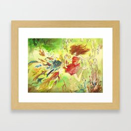 a girl and fish Framed Art Print