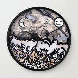 Sun & Moon on Gobbledegook Wall Clock